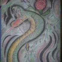 Tribal tattoo, Schlange, Rosenkranz, Kohlezeichnung