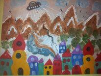 Weltuntergang, Acrylmalerei, Malerei