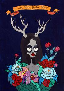 Surreal, Portrait, Tiere, Blumen