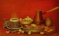 Kaffee, Süssigkeite, Leckerchen, Malerei