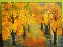 Malerei, Park, Regen