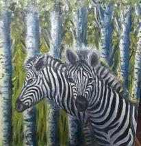 Zebra, Birkenwald, Versteck, Malerei