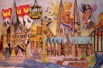 Köln, Clown, Bunt, Zeichnungen