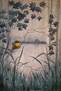 Grau, Gelb, Natur, Vogel