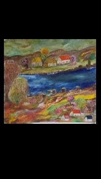 Bergdorf, Herbst, Fluss, Malerei