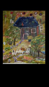 Frau, Dach, Stuhl, Garten