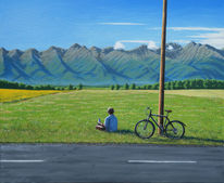 Gemälde, Landschaft, Bergen, Sommer