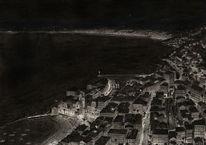Stadt, Schwarz, Abend, Zeichnung