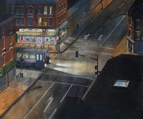 Malerei, Nacht, Licht, Verkehr