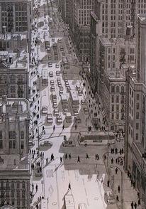 Verkehr, Zeichnung, Realismus, New york