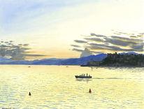 Meer, Sommer, Aquarellmalerei, Sonnenuntergang
