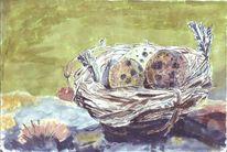 Zerbrechlich, Ei, Nest, Malerei
