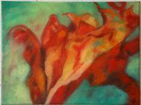 Blattwerk, Fenster, Blumen, Ölmalerei