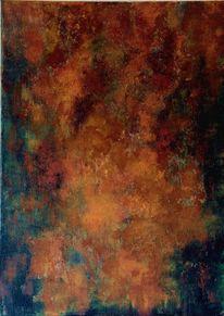 Acrylmalerei, Korrosion, Metall, Mischtechnik