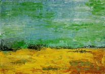 Acrylmalerei, Dorf, Spachteltechnik, Landschaft