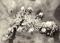 Schwarz weiß, Zeichnung, Tuschmalerei, Natur