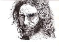 Zeichnung, Portrait, Tusche, Schwarz weiß