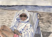 Sonne, Brille, Strand, Zeichnung