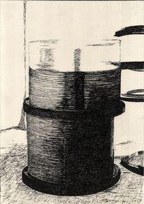 Tusche, Rohlinge, Schwarz weiß, Zeichnung
