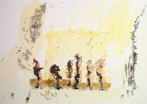 Gelb, Aquarellmalerei, Bewegung, Tuschmalerei