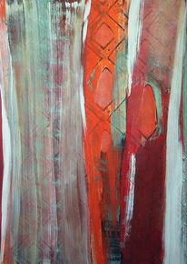 Rot, Weiß, Frau, Malerei