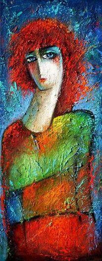 40x90 cm, Frau in rot, Öl auf hartfaser, 2013