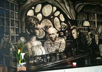 Wandmalerei, Weiß, Schwarz weiß, Bar nando