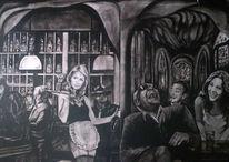 Schwarz weiß, Weiß, Bar nando, Wandmalerei