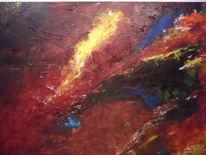 Ölmalerei, Rot schwarz, Malerei, Blau