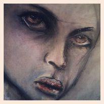 Pastellmalerei, Augen, Kohlezeichnung, Kreide
