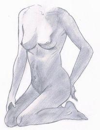 Frau, Bleistiftzeichnung, Akt, Schatten