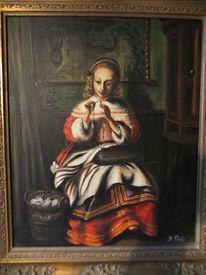 Näherin zuyderzee ölgemälde, Malerei