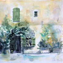 Nachmittag, Dorfstraße, Schatten, Bauernhaus frankreich aquarell
