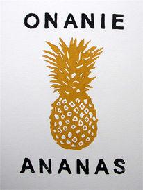 Onanie, Ananas, Druckgrafik