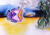 Unterwasser, Bleistiftzeichnung, Buntstiftzeichnung, Tiere