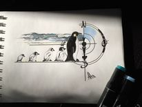 Südpol, Copic marker, Pinguin, Meer