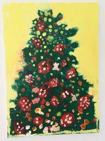 Weihnachten, Weihnachtsbaum, Malerei, Tannenbaum
