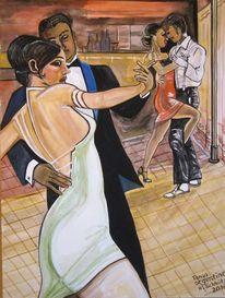 Gouachemalerei, Argentino, Tango, Malerei