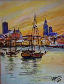Speyer, Hafen von stralsund, Gouachemalerei, Heinz