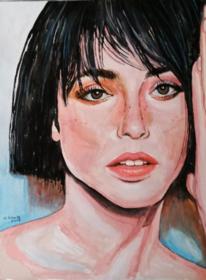 Gouachemalerei, Portrait, Malerei,
