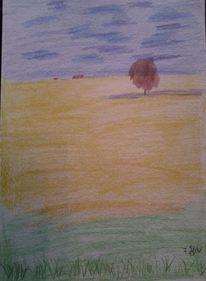 Landschaft, Feld, Buntstifte, Malerei