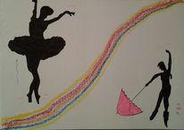 Pastellmalerei, Regenbogen, Tanz, Tänzerinnen