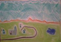 Berge, Alpen, Pastellmalerei, Malerei