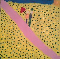 Paar, Spaziergang, Sonnenblumen, Malerei