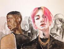 Gold, Blind, Menschen, Pink