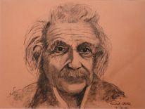Albert einstein, Portrait, Kohlezeichnung, Zeichnungen