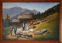 Schweiz, Almabtrieb, Berge, Wilderswil