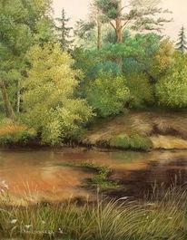Malerei, Pastellmalerei, Bach