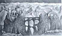 Berge, Wolken, Gebäude, Arche