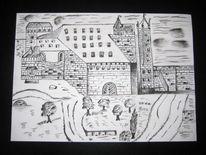 Kohlezeichnung, Schloss, Garten, Zeichnungen
